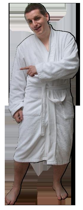 Holger mit seinem Saunamantel